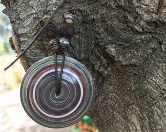 Saucer Pendant - lava bead