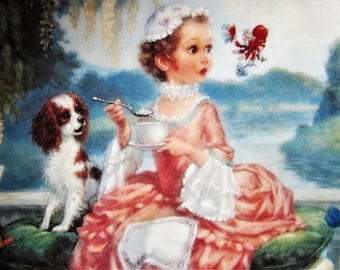 """Vintage """"Little Miss Muffet"""" Collectors Plate 1984 Girl Dog Spider Flower Pnk Artist Scott Gustafson Personal Collection Knowles Fine China"""