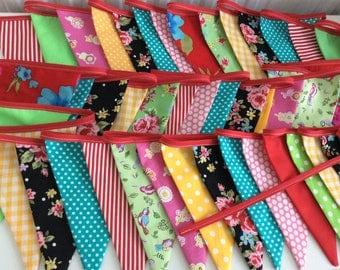 Boho Wedding Extra Long Bunting / Garland / Fabric Banner, folk art bunting - 33ft 10m Long
