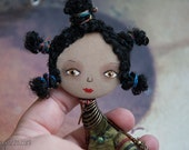 African Girl, Art doll brooch, Personalized gift for her