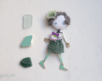 Romantic Little Mint Girl, Art doll brooch, Personalized gift for her