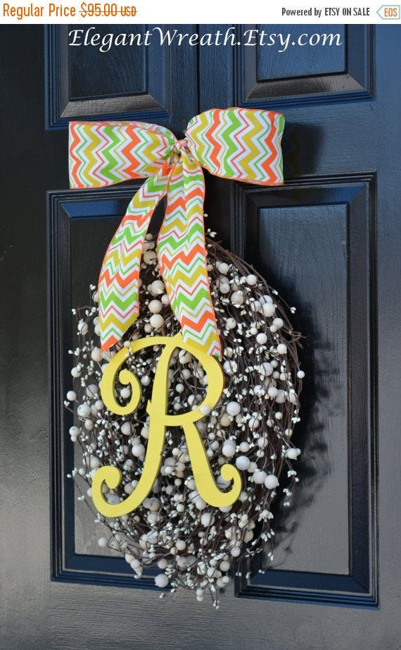 SPRING WREATH SALE Monogram Egg Wreath- Easter Wreaths- Egg Easter Wreaths  Easter Decor- Monogram Wreath- Spring Wreath