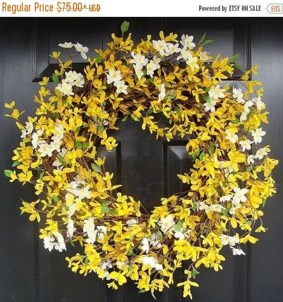SUMMER WREATH SALE Spring Wreath- 20 inch Yellow Forsythia Wreath- Year Round Home Decor- Summer Wreath