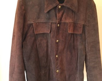 Vintage 60s/70s Mens Chocolate Brown Heavy Suede Jacket - Made by Buckboard - Size 44
