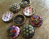 Vintage Glass Cabs in Settings Four Matched Pairs 18mm Toulouse Assortment