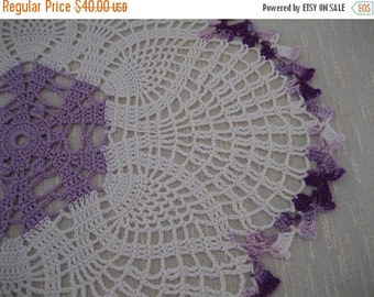 holiday sale Gorgeous handmade doily, white, wood violet, variegated purple, ready to mail, home fashion