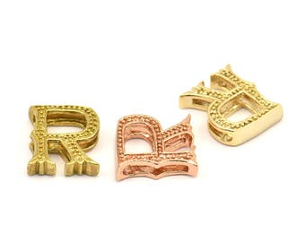 3 Letter Pendants, 3 Brass Letter Alphabets, Rose Gold and Gold Finish Options, Uppercase, Letter Initial Pendant for Personalized Necklaces