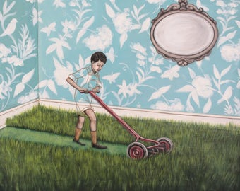 Timmy's Turn To Mow The Living Room - Fine Art Print of Original Painting