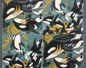 Orca and Kelp wood coasters, pacific northwest, seattle, nature inspired