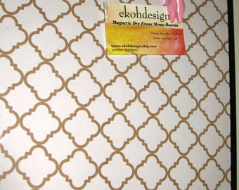 Gold Lattice ..Magnet Dry Erase Memo Board / Housewarming Gift / Office Decor / Desk / Organization / Wall Hanging / Wall Decor / Gold
