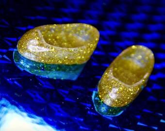Middie Blythe Gold glitter Heart Slipper shoes