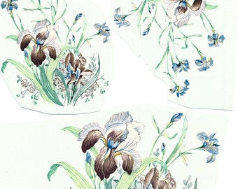 Flower Decals for ceramic and glass, vintage, floral, irises