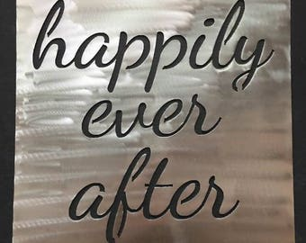 Large Square Metal Quote Sign - Happily Ever After