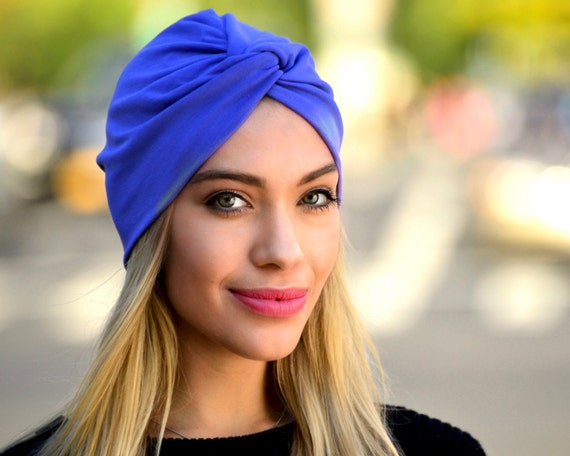 Blue Turban Fall Fashion Royal Blue Retro Accessory Periwinkle 1940s Hat Doo Rag Tichel Hijab Hair Snood Head Covering Stretch Turban