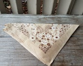 Tan, Brown and White Floral Bandana