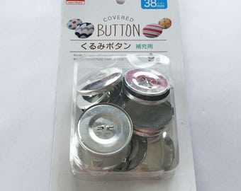 Aluminum / Stainless Steel Self Cover Buttons - Makes 9 Fabric Covered Buttons - Blank Button Shell & Shank / Wire Back - 38mm
