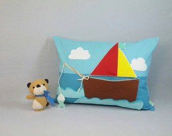 Playful Pillow with Bear in the Boat - Children, Nursery, Decor, Toy, Boys, Bear, Marine, Gift