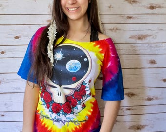 Grateful Dead Space Your Face Upcycled Womens Festival Clothing Tshirt Tee Tunic/Mini Dress Off The Shoulder Small Medium Large XL