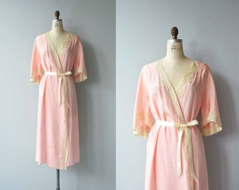 Reverie silk wrapper | vintage 1920s robe | lace silk 20s dressing gown