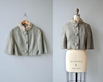 Dalemoor jacket | vintage 1950s fur collar jacket | cropped wool 50s jacket