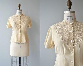 Cutout Lace silk blouse | vintage 1950s lace blouse | cream silk 50s blouse