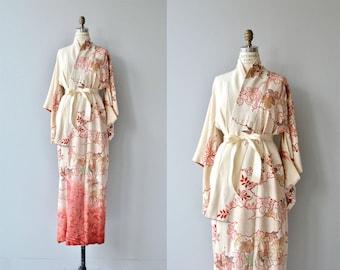 Winged Spindle kimono | vintage 1950s silk kimono | floral silk 50s kimono robe
