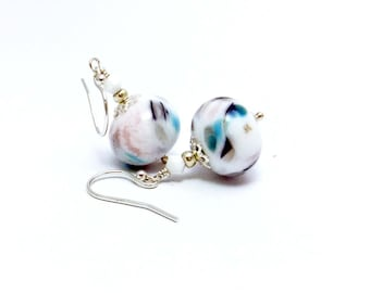 Floral White Swirled Lampwork Glass Bead Drop Earrings Handmade sterling silver earhooks Swarovski chalk white bicone beads, flamework beads