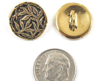 TierraCast Pewter Buttons-ANTIQUE GOLD BAMBOO 16mm (2)