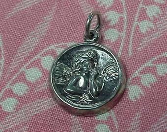 Vintage 925 Sterling Guardian Angel Embossed Bracelet Charm