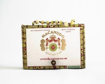 OOAK Macanudo Cigar Box Vintage Beaded Handle Retro Collectible Purse