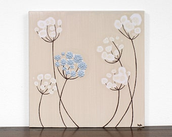 Minimalist Painting on Canvas - Sculpted Flower Art - Blue and Brown - Small 10x10