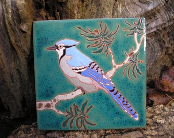 Blue Jay Tile -READY TO SHIP-arts and crafts style, birders, kitchen decor, bath, fireplace surround