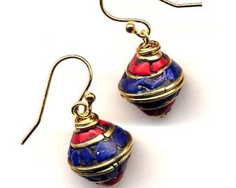 Nepali Earrings, Small Tibet Lapis and Coral Earrings, Small Nepal 18 K Gold Filled Wire Lapis Ethnic Earrings, Nepal Jewelry by AnnaArt72