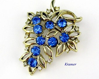 Blue Rhinestone Grape Brooch by Kramer