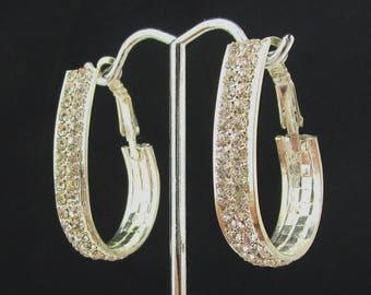 Rhinestone Earrings Long Loop Pierced Post