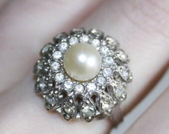 Sterling Silver Genuine Pearl Rhinestone Paste Ring