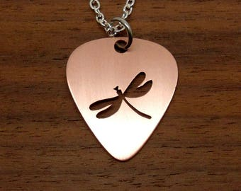 Dragonfly Necklace, Guitar Pick, Copper Necklace, Dragonfly Pendant, Keychain, Copper Pick, Dragonfly Jewelry, Chain Or Key Ring