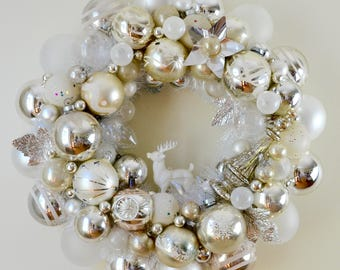 Ornament Wreath Vintage Silver and White Heirloom