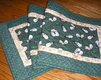 Quilted Table Runner, Snowmen and Snow Angels on Dark Green, 14  x 41 inches
