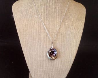 DRAGONS EGG Necklace - Bismuth Crystal Pendant - Bright Iridescent Hopper Crystal Group p157