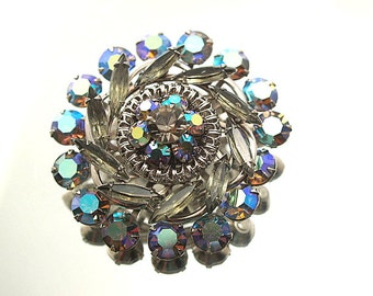 Pretty Grey Blue Vintage Rhinestone Brooch Blues Marquise Prong Set Stones Flower Broach Wedding Bridal Formal