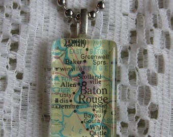 """Map of Baton Rouge Glass Pendant Necklace on 18"""" Chain"""