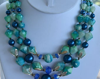 "Pretty Vintage Blue, Green Plastic Beaded Multi-Strand Necklace, Hong Kong, 15""-17"" (AL14)"