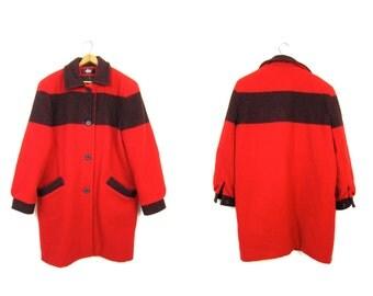 Vintage Woolrich 1 Point Striped WOOL BLANKET Coat Red Black Wool Trapper Coat Long Pea Coat Preppy Hunting Coat Boho Mod Womens Medium