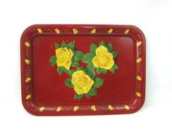 Vintage Red Floral Serving Platter Tray Metal Flower Litho Painting TV Tray Cottage Chic Mid Century Home Decor