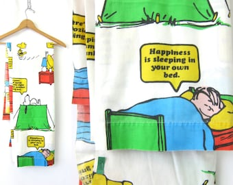 Vintage 1970s Peanuts Muslin Double Bed Sheet Fabric Happiness is Sleeping in Your Own Bed 1971 Snoopy Charlie Brown Lucy Linus Woodstock