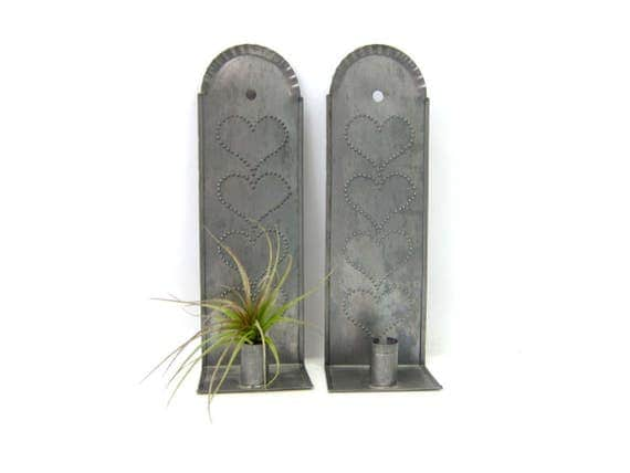 Punched Metal hanging Candle holders Primitive Hearts Pair of wall candle holders Silver Country Folk Home Decor