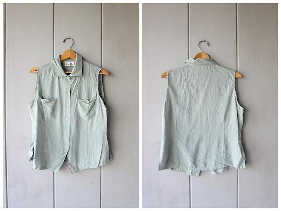 90s Silk Sleeveless Blouse Mint Green Tank Top Button Up Silk Blouse Minimal Silk Top Casual Preppy Modern Shirt Vintage Womens Medium Large