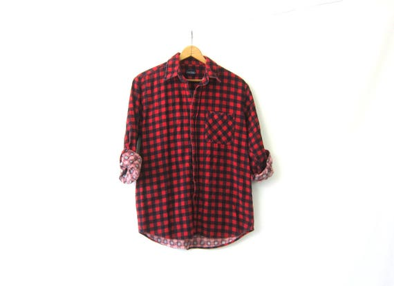 Small Checkers Flannel Shirt Red and Black Buffalo Check Camping Shirt Vintage Plaid Boyfriend DES Button Down tomboy shirt Medium Large