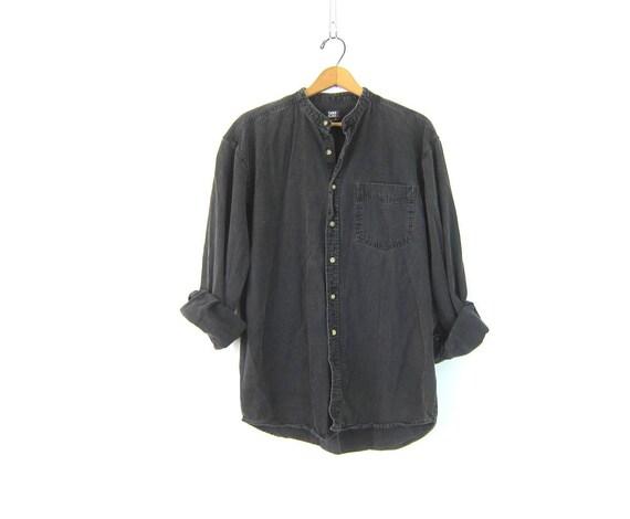 Faded Black Jean Shirt denim Button Down Oxford shirt Collarless hipster Shirt Denim jean Top Pocket shirt Men's Size Medium